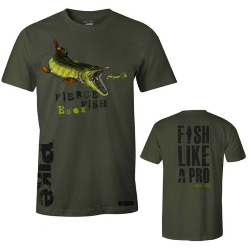 Fladen T-Shirt Hungry Pike Green Size L-1