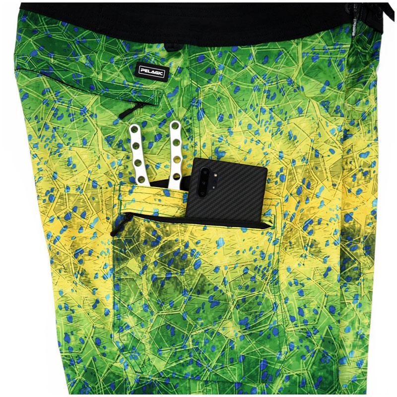 Pelagic Blue Water Fishing Shorts Green Dorado Hex  Size 32-5