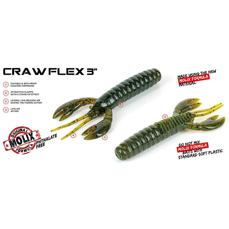 Molix Craw Flex 3 Watermelon Red & Black Flake-1