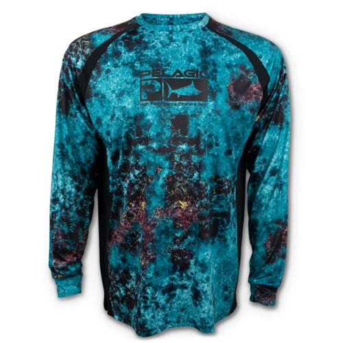 Pelagic Vaportek Long Sleeve Performance Shirt Belize Aqua Size L